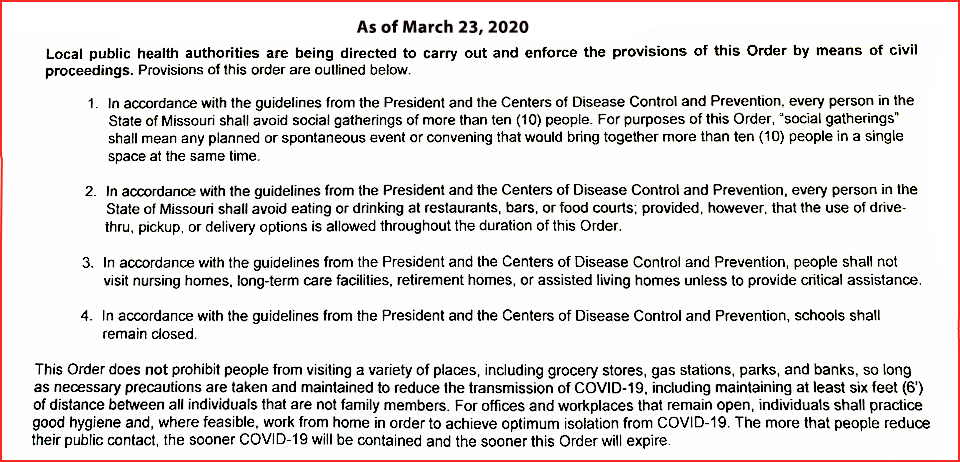 new state of MO Covid 19 regulations